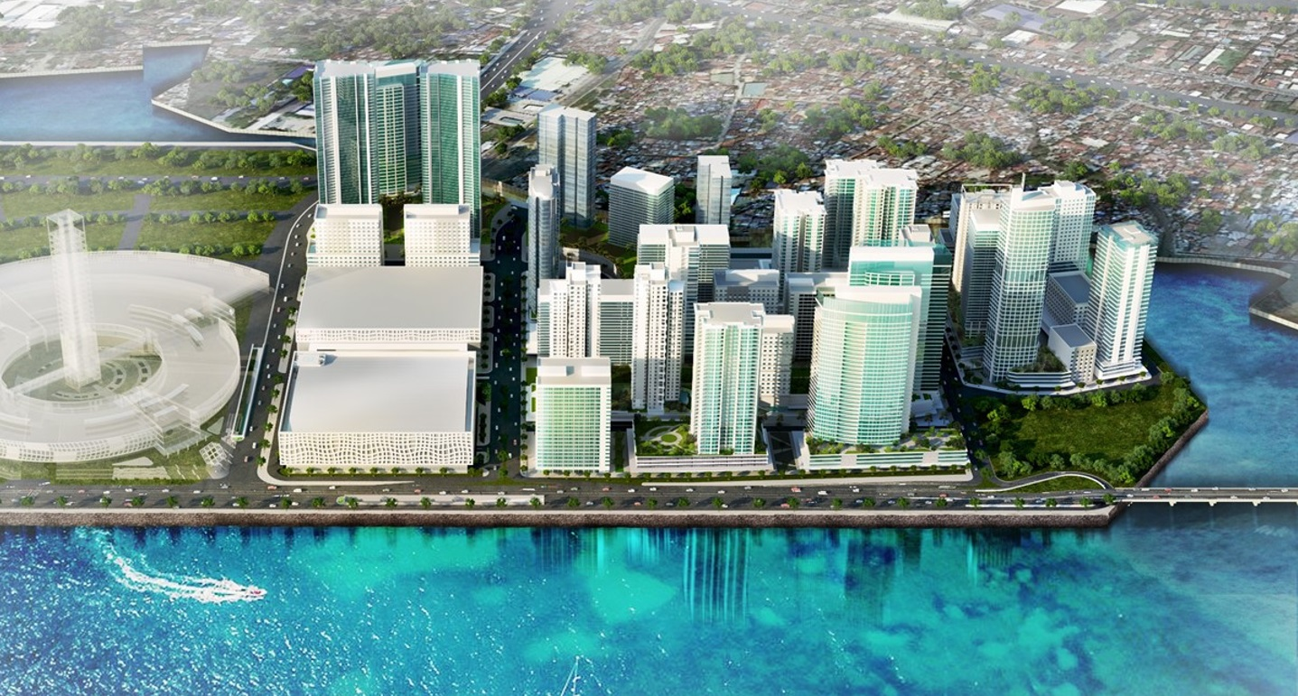 New high rise office blocks over looking crystal clear water