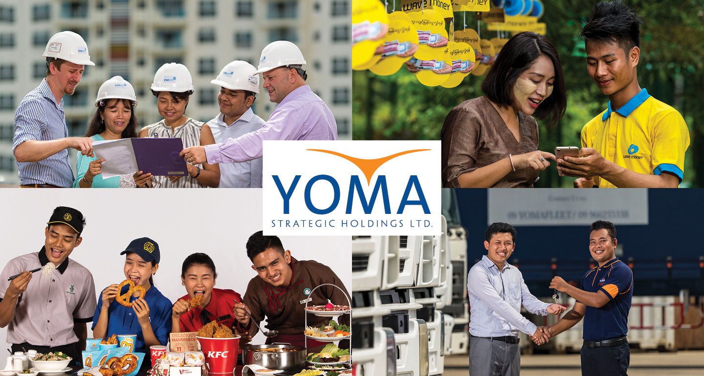 four images, four people looking at plans with hard hats on, two people looking at a mobile phone, four people eating various takeaways and two people one is handing over keys.