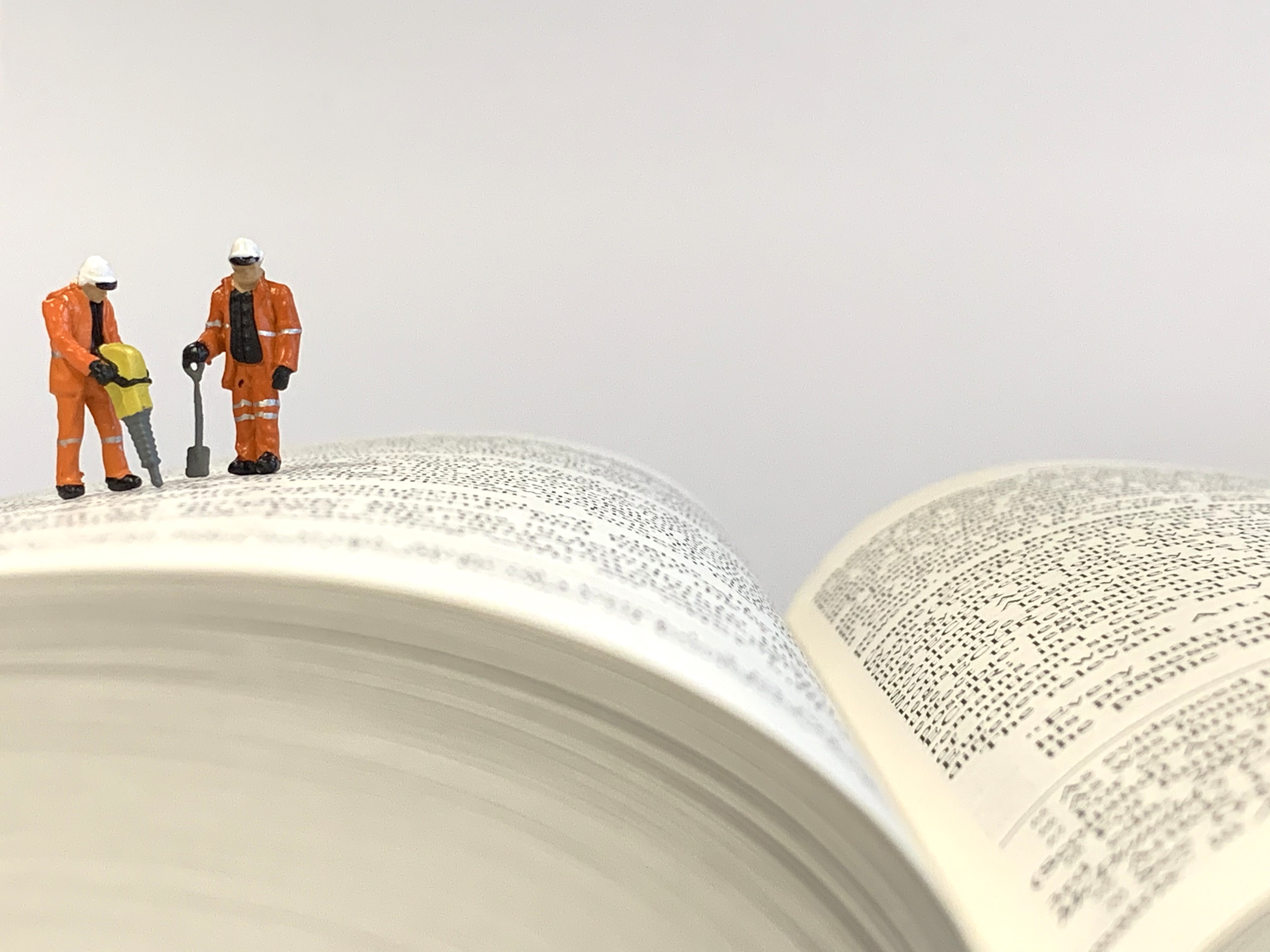 Workmen on book