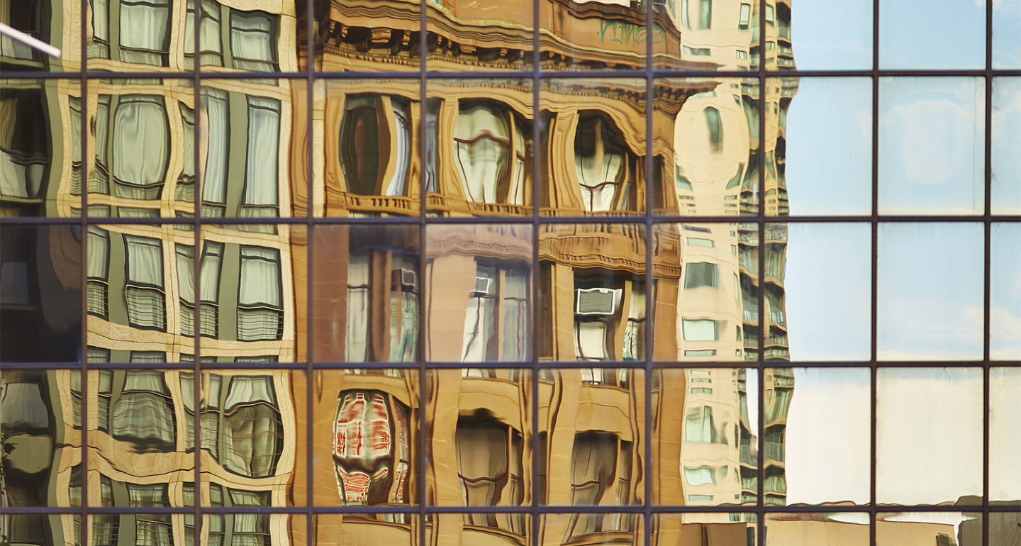 Reflections of a building