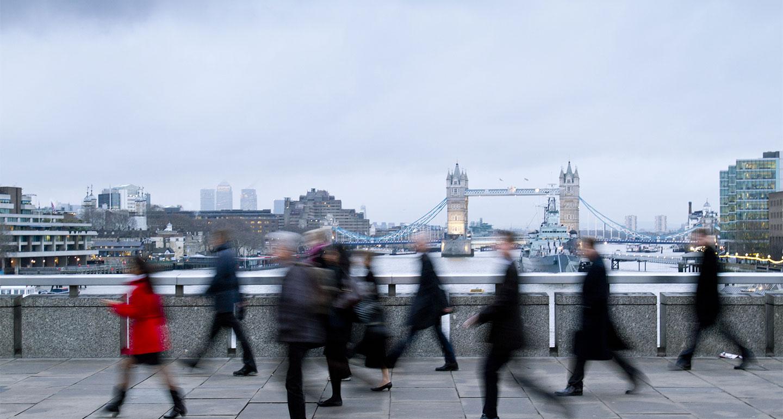 London commuter blurred