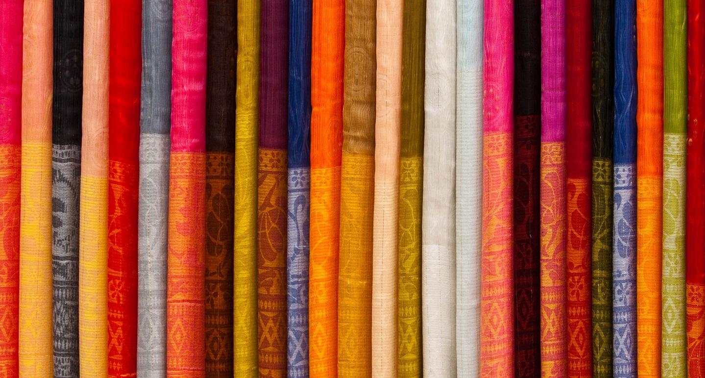 Columns of colorful fabrics
