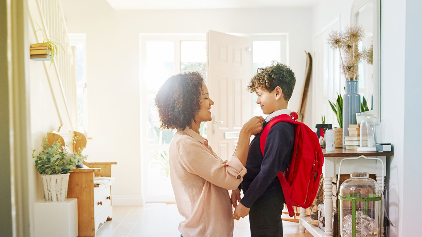 Mother and son ready for school