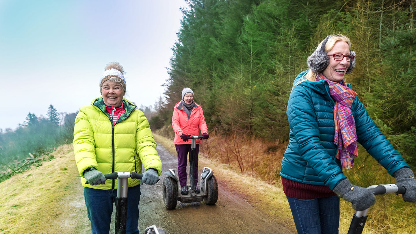 three ladies on segway