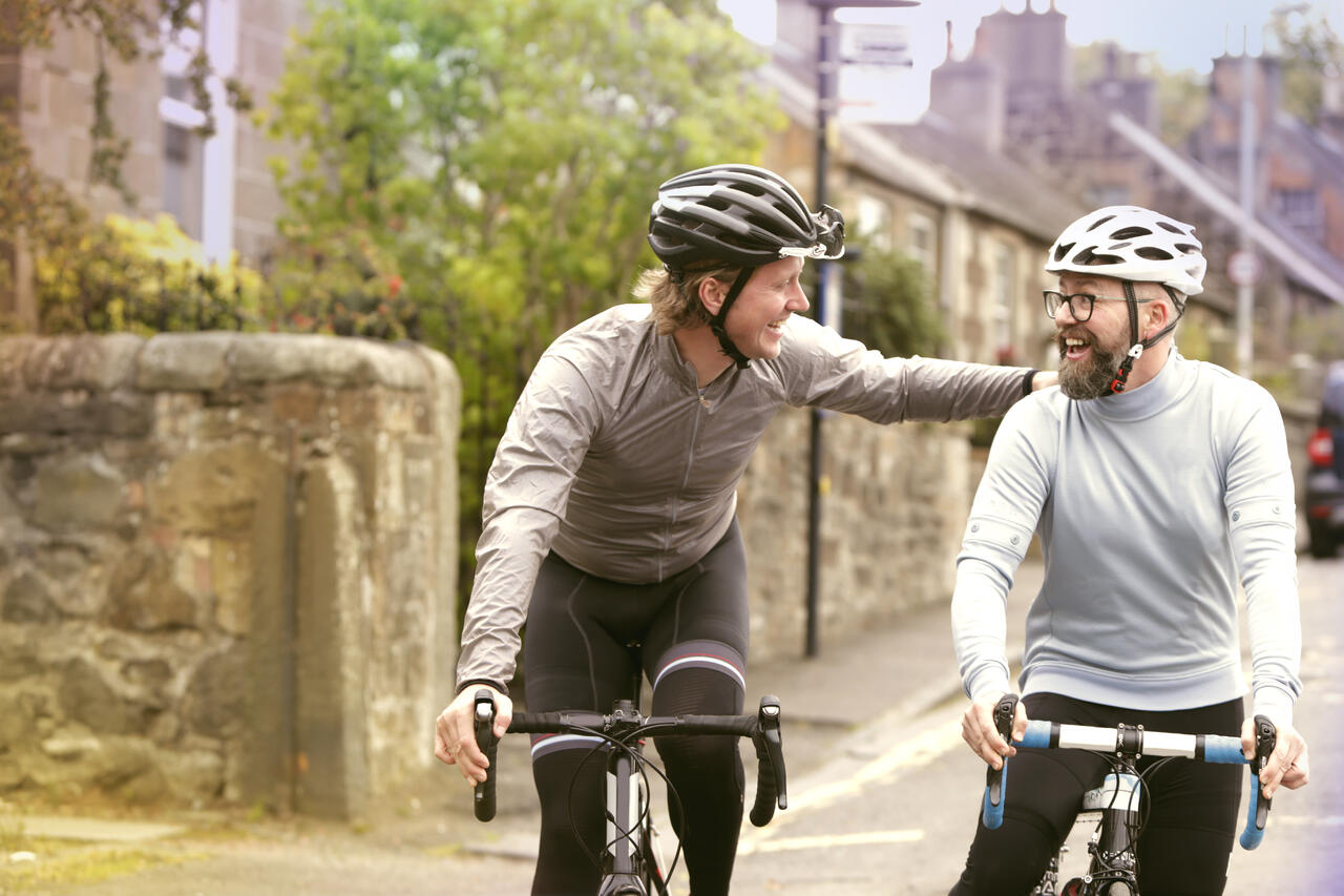 cyclists in conversation