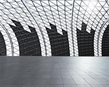 Large room with futuristic architecture