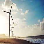 Windfarm on a beach